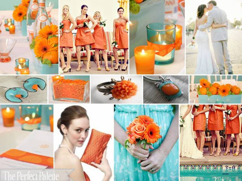 Orange and Aqua Wedding Cake http://gotchacovereddublin.blogspot.com/2011/07/orange-colour-palettes.html