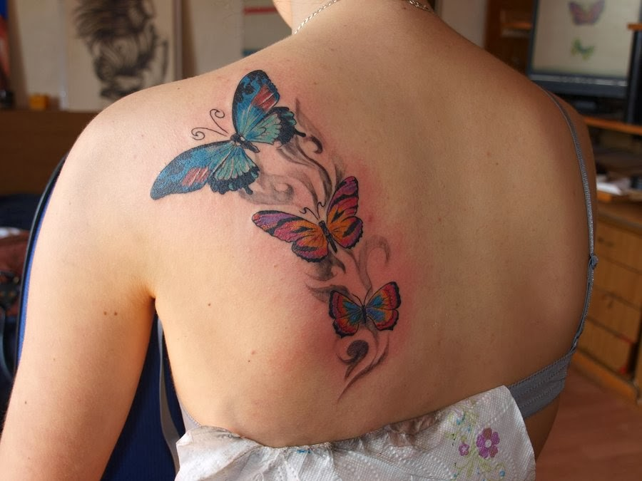 Beautiful Butterfly Tattoo Design on Soulder