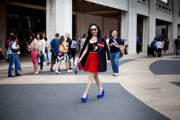 blue and red hearts and black asian fashion new york fashion week new york street style heart on coat heart on top pleated skirt blue suede wedges nyc the stylepreneur