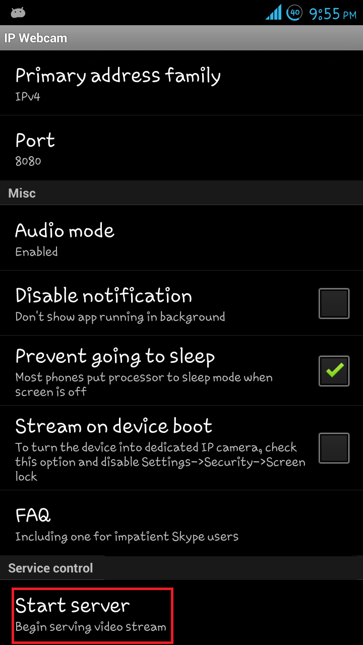 Camera Use Your Android Phone As A Webcam everything in one place use your android mobile phone as webcam step 3 now when you clicks on the start server then after that will see a ip at bottom of mobiles screen open this i
