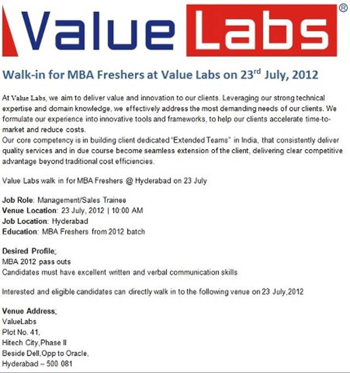 referral openings valuelabs walkin on jul 23 2012