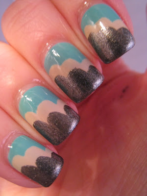 Cloud-manicure-nail-art-blue-silver-Barry-M-Lychee