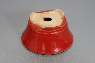 赤釉丸盆栽鉢(Red glaze bonsai pot)h1827