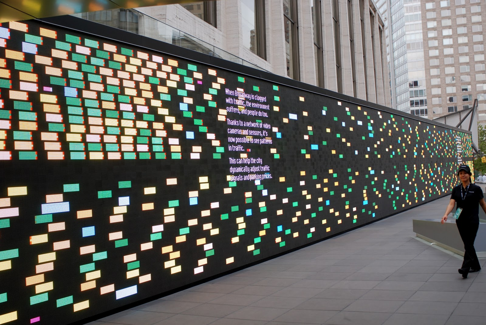 Nyc nyc ibm think exhibit39s digital wall at lincoln center for Digital exhibit stickers