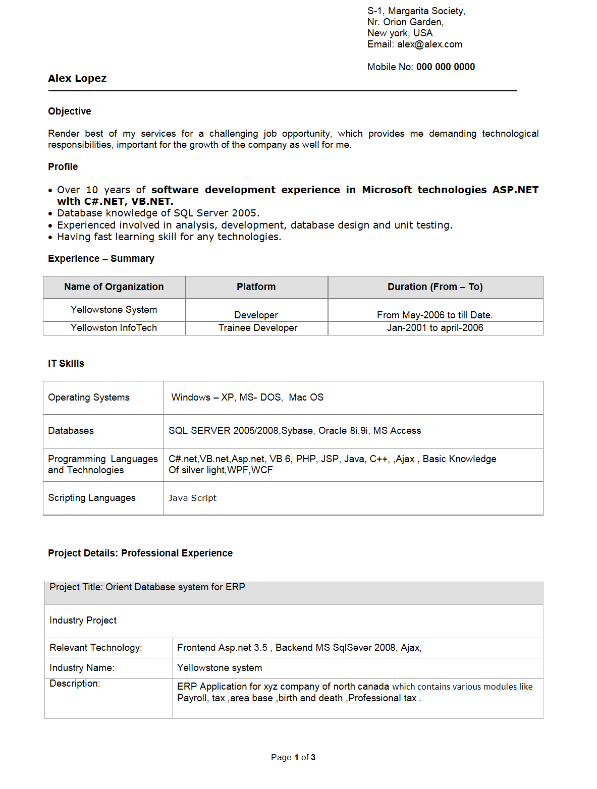 resume sles of software engineer fresher application