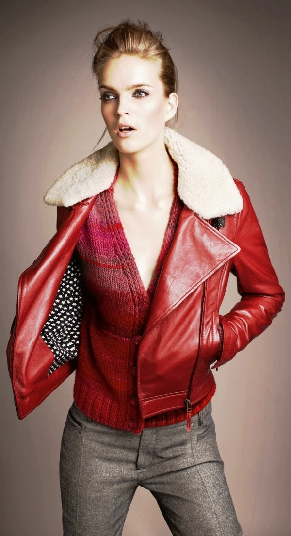 Gorgeous red jacket and cardigan combination