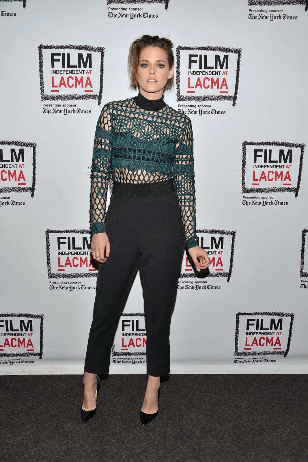 Kristen Stewart flashes bra in crochet top at the 'Clouds of Sils Maria' Screening at LACMA in LA