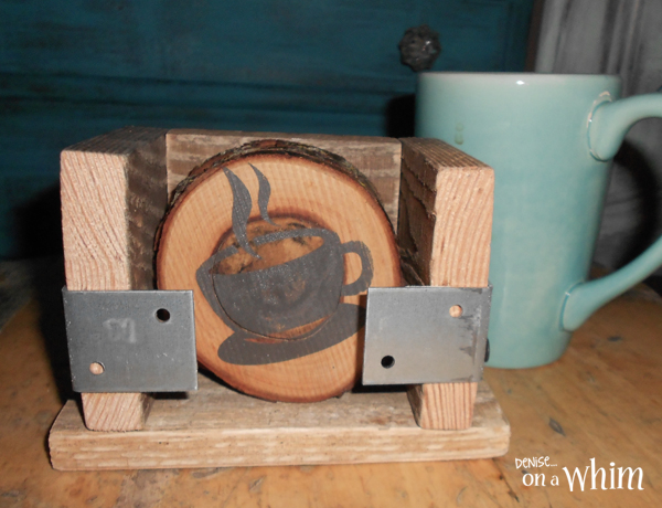 Coffee Themed Log Slice Coasters in an Industrial Holder from Denise on a Whim