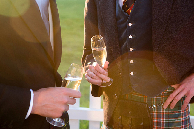 Wedding Photography Doonbeg Ireland, champagne and kilts