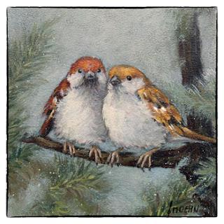 bijzondere kerstkaart schilderij winter mus in dennenboom Atelier for Hope Doetinchem
