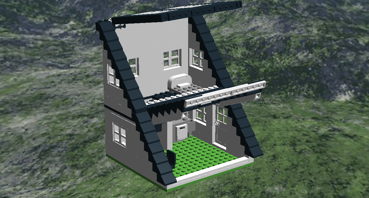 here is a house with an a frame but half of it this house features solid walls skylights interior furnishings and lift up roofs