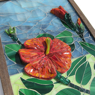 Fire side of &quot;Fire and Rain&quot; glass mosaic window art by Linda Pieroth Smith