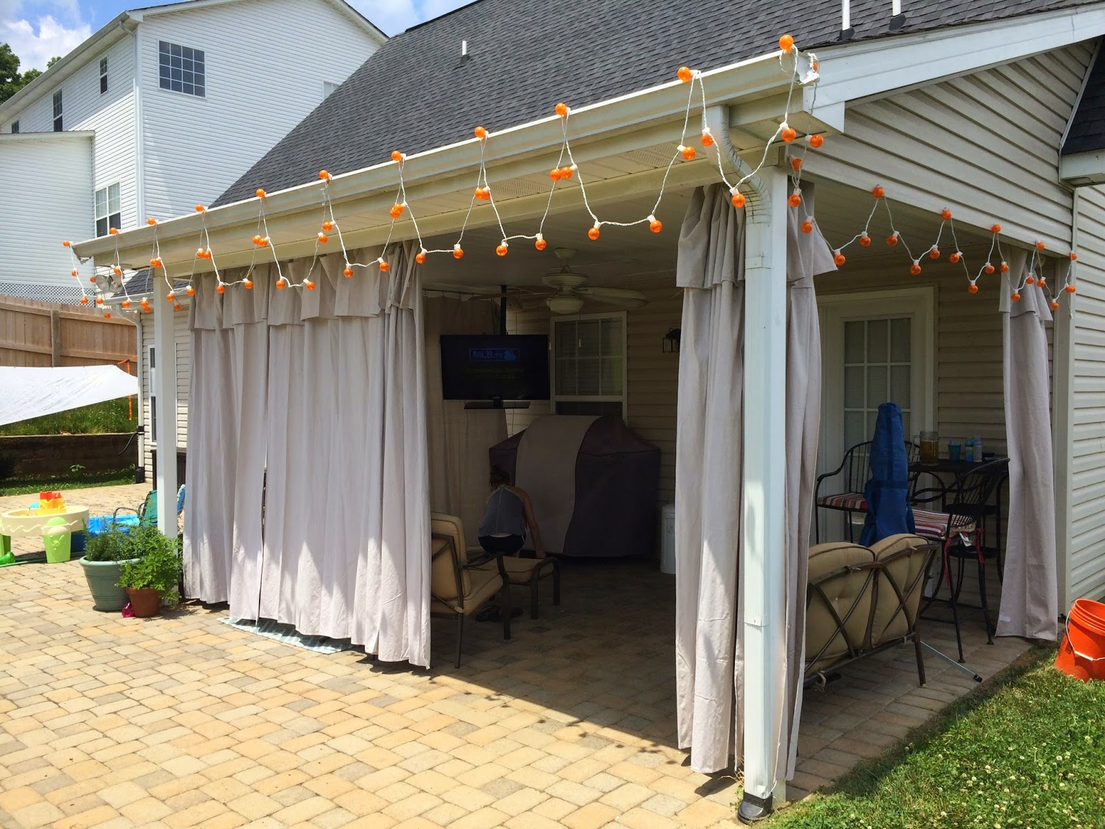 Beau No Sew Outdoor Curtains. We Have A Nice Covered Patio ...