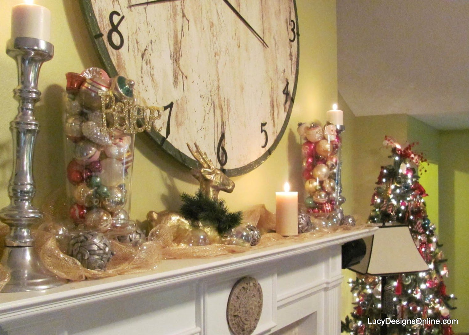 vintage ornaments in glass jars on mantel