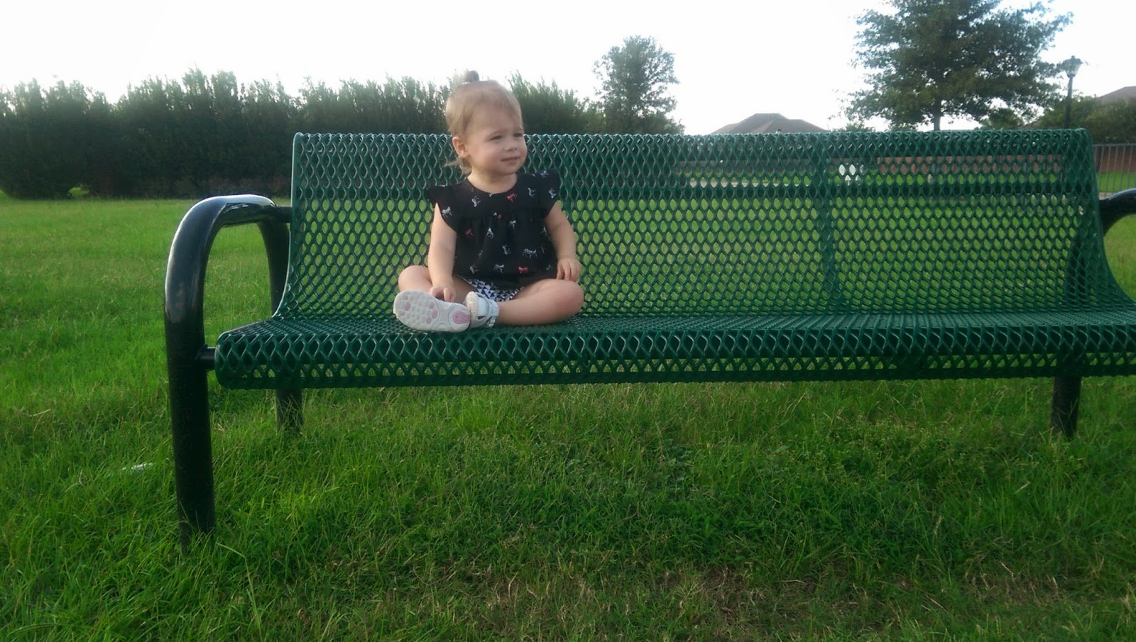 Toddler on park bench | Bubbles and Gold (www.bubblesandgold.com)