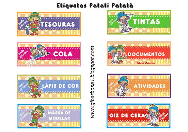 Etiquetas para organizar material tema Patati Patatá