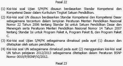 Permendikbud No 97 Tahun 2013 tentang Kriteria Kelulusan Peserta Didik Dari Satuan Pendidikan Dan Penyelenggaraan Ujian SekolahMadrasahPendidikan Kesetaraan Dan Ujian Nasional Pasal 22 ayat 4