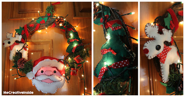ghirlanda in pannolenci renna babbo natale albero natalizia tutorial diy ME creativeinside