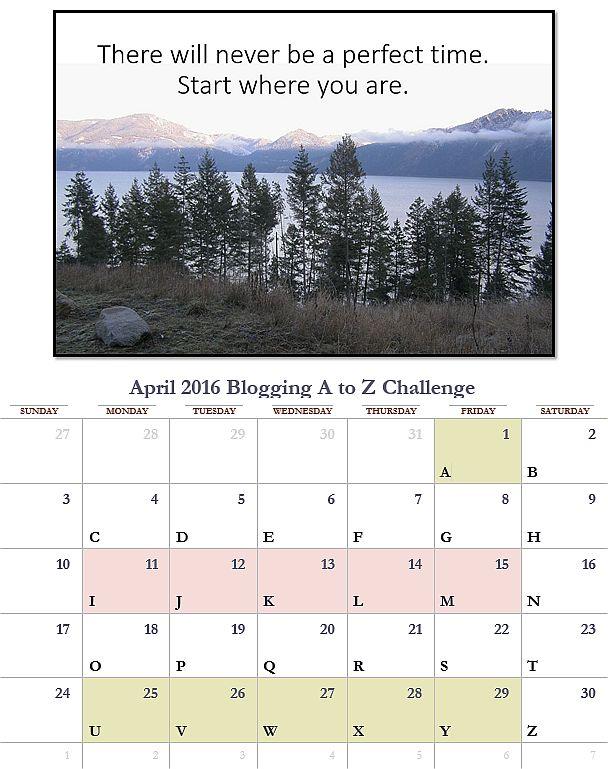 A to Z April 2016 Calendar