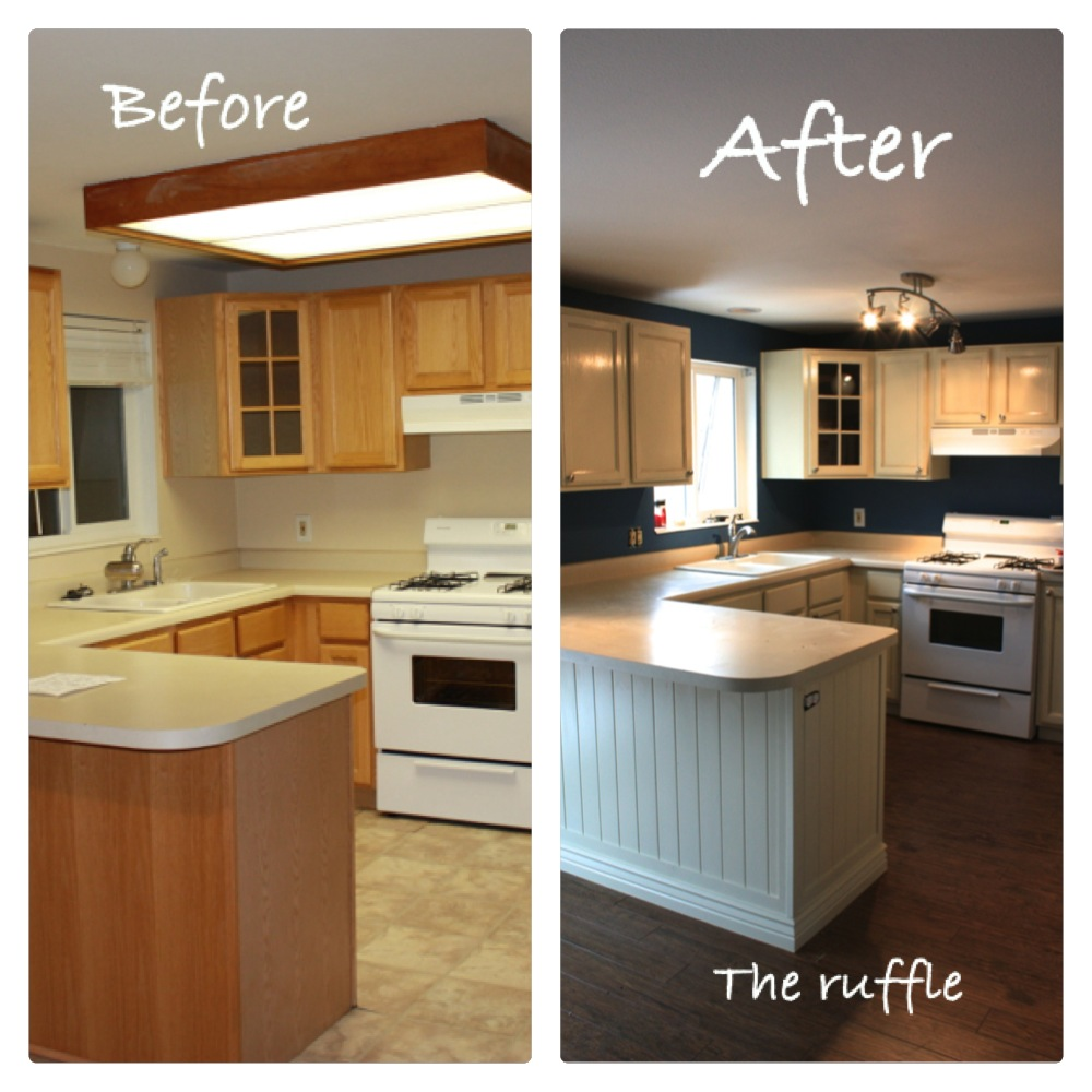 The ruffle kitchen cabinets for Can you paint non wood kitchen cabinets