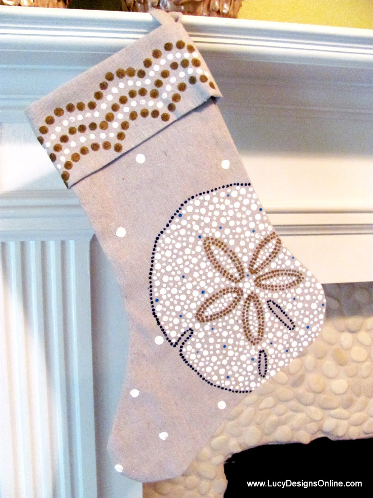 hand painted sand dollar Christmas stocking
