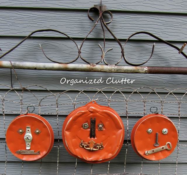 Junk Pumpkins: Upcycled Thrift Shop Cake Pan and Junk Drawer Parts