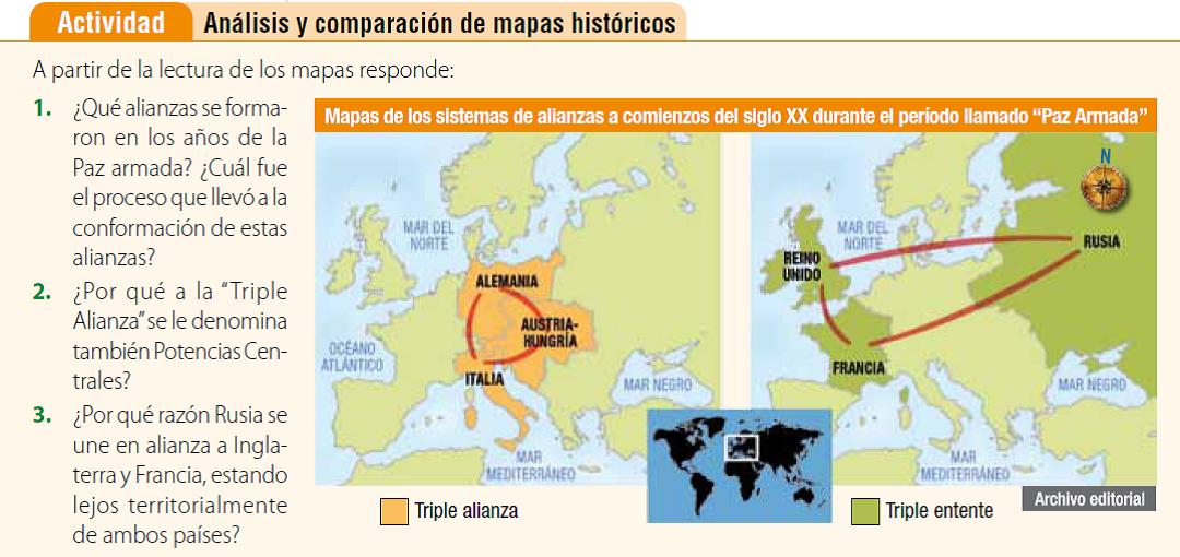 Potencias Mundiales en la Historia en un Mapa Mundial de la época