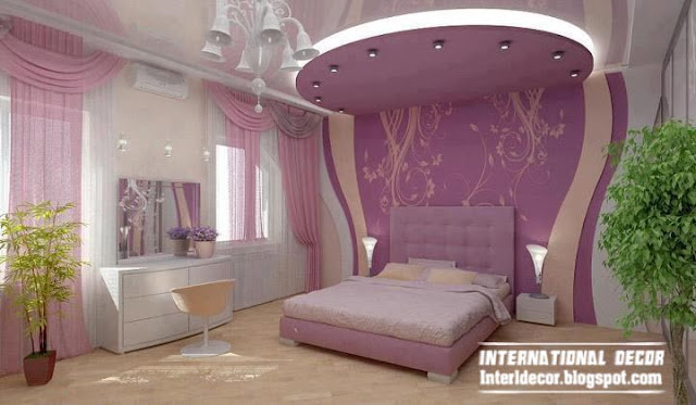 contemporary bedroom design ideas with new gypsum ceiling and wall with pink curtain