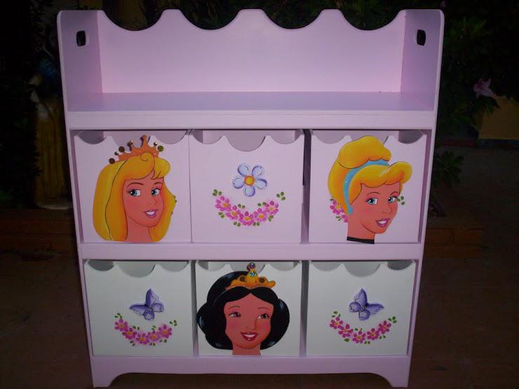 Estante organizadora com 6 caixas Princesas