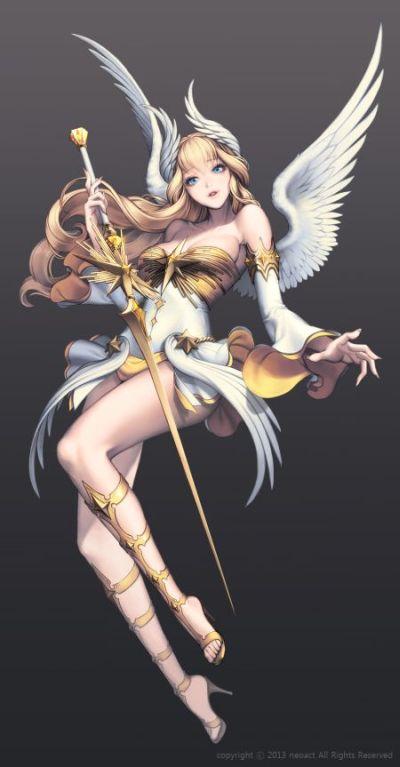 Gwon Yun Jeong lovecacao illustrations fantasy women beautiful sexy Angel