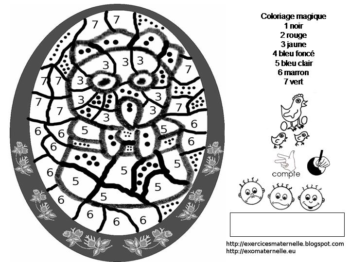 Maternelle: Coloriage Magique : La Poule Dans Le Pot