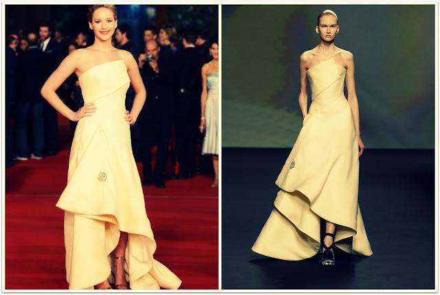 Jennifer Lawrence con vestido de Dior en la premiere de Roma