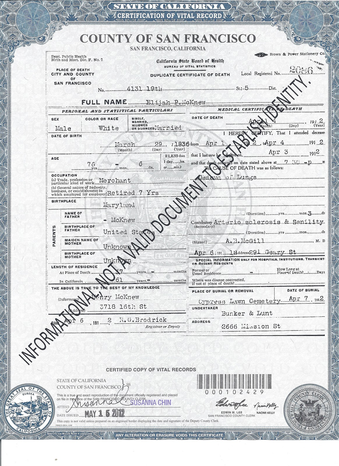Genea musings treasure chest thursday death certificate for treasure chest thursday death certificate for elijah mcknew 1836 1912 1betcityfo Image collections