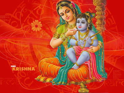 Krishna childhood photo on laps of mother yashoda