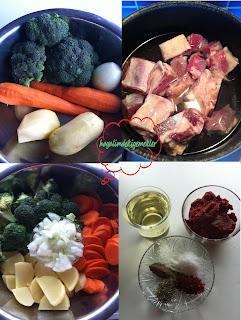 Etli patatesli havuclu brokoli yemeginin malzemeleri