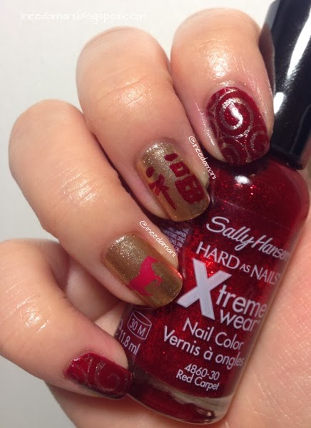 year of the horse red and gold chinese new year nails