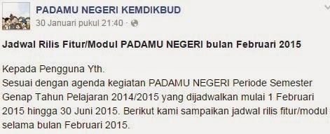 Jadwal Rilis Fitur Padamu Negeri Semester 2 TP 2014/2015
