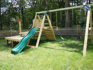 Dollops of diane building your own swing set for Build a swing set playhouse