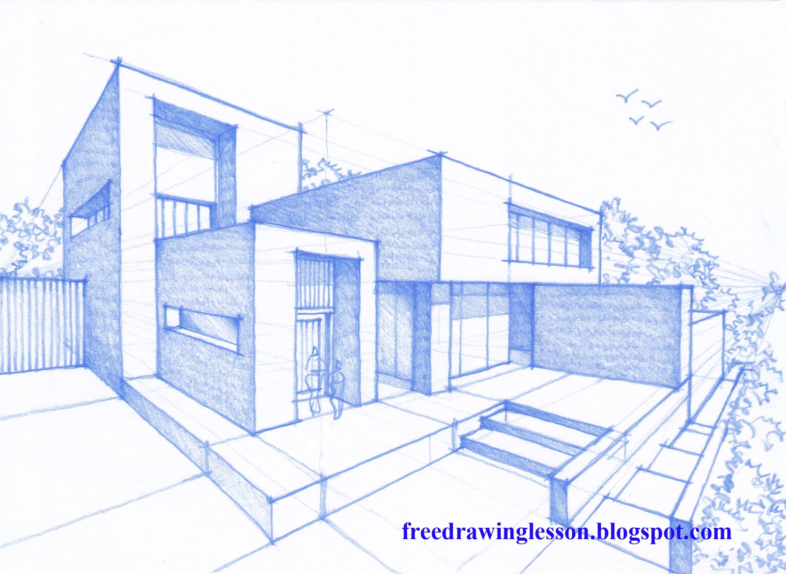 How to draw a house learn to draw for Architecture modern house design 2 point perspective view
