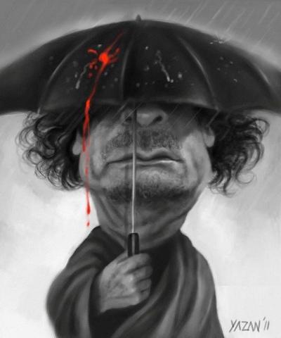 Koldblodig diktator, Muammar Gaddafi karikatur tegning