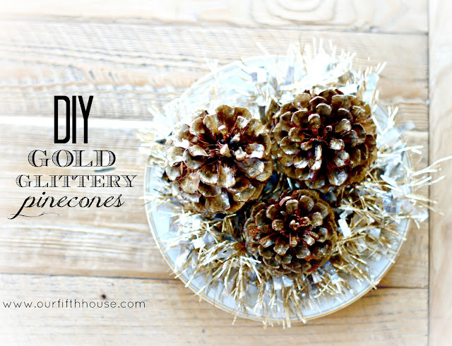 diy gold glittery pinecones