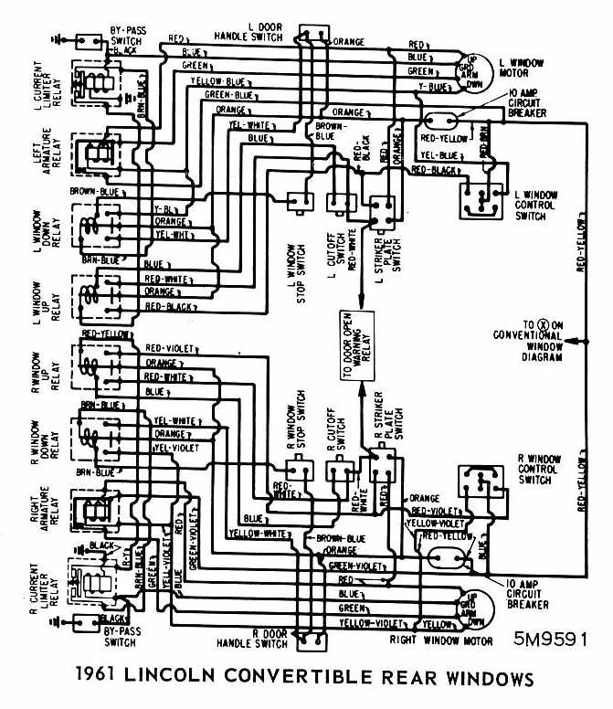 Lincoln+Convertible+1961+Rear+Windows+Wiring+Diagram lincoln continental convertible 1961 rear windows wiring diagram 1954 Lincoln Continental at soozxer.org