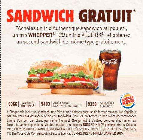Burger king coupons rabais