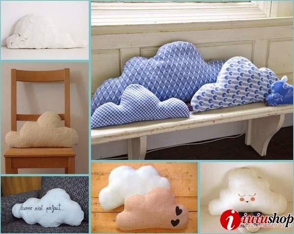Hướng dẫn tự may gối ôm hình đám mây làm gối handmade dễ thương từ vải nỉ, vintage