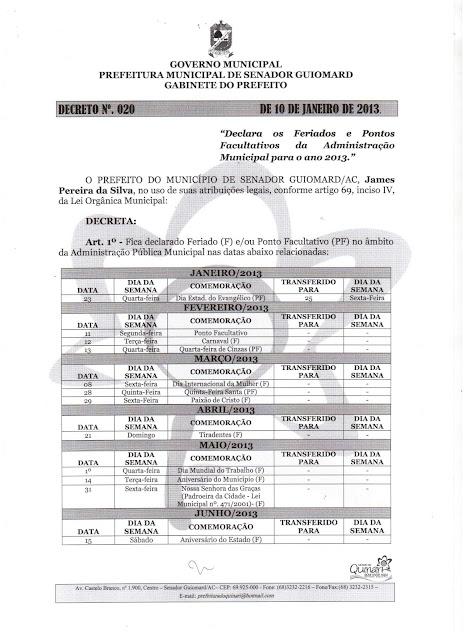 James Gomes baixa decreto com feriados e pontos facultativos de 2013