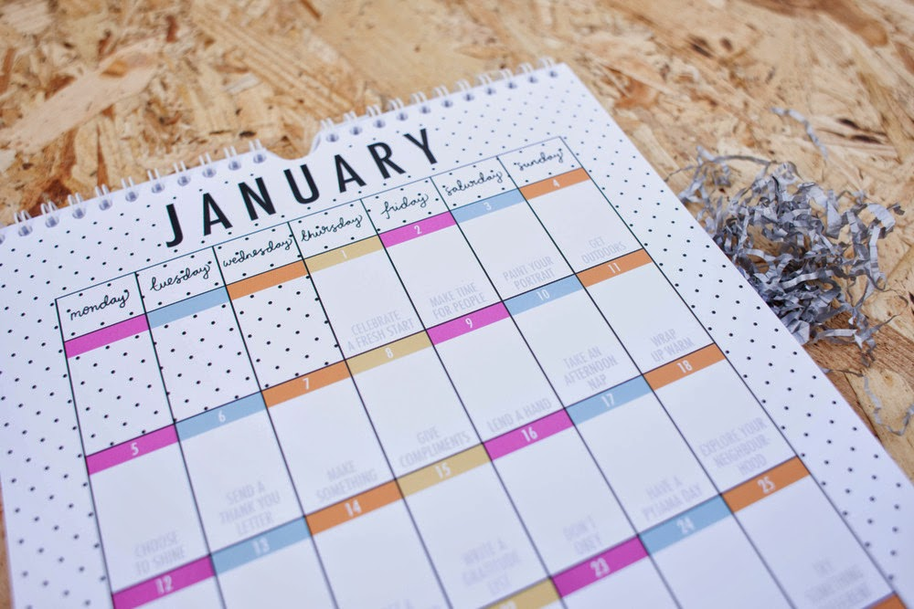 2015 Terrific Project Calendar - January Page