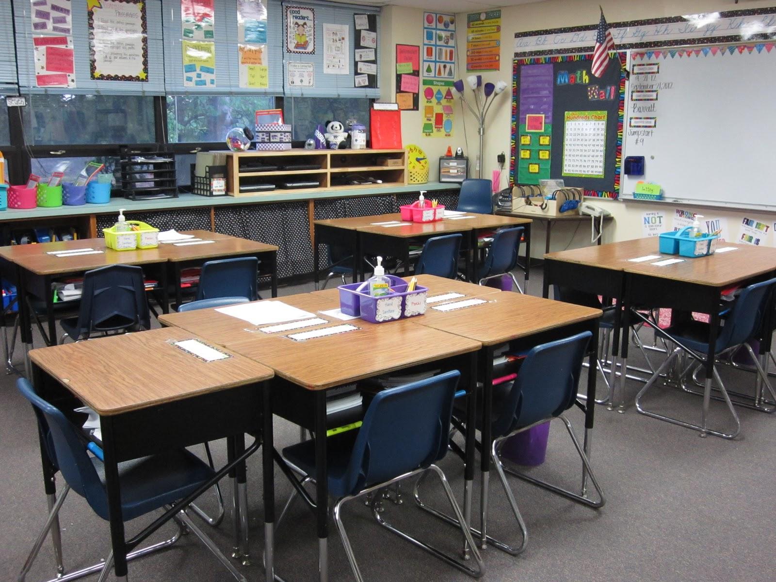 Third grade rock star classroom sneak peek table - Classroom desk organization ...