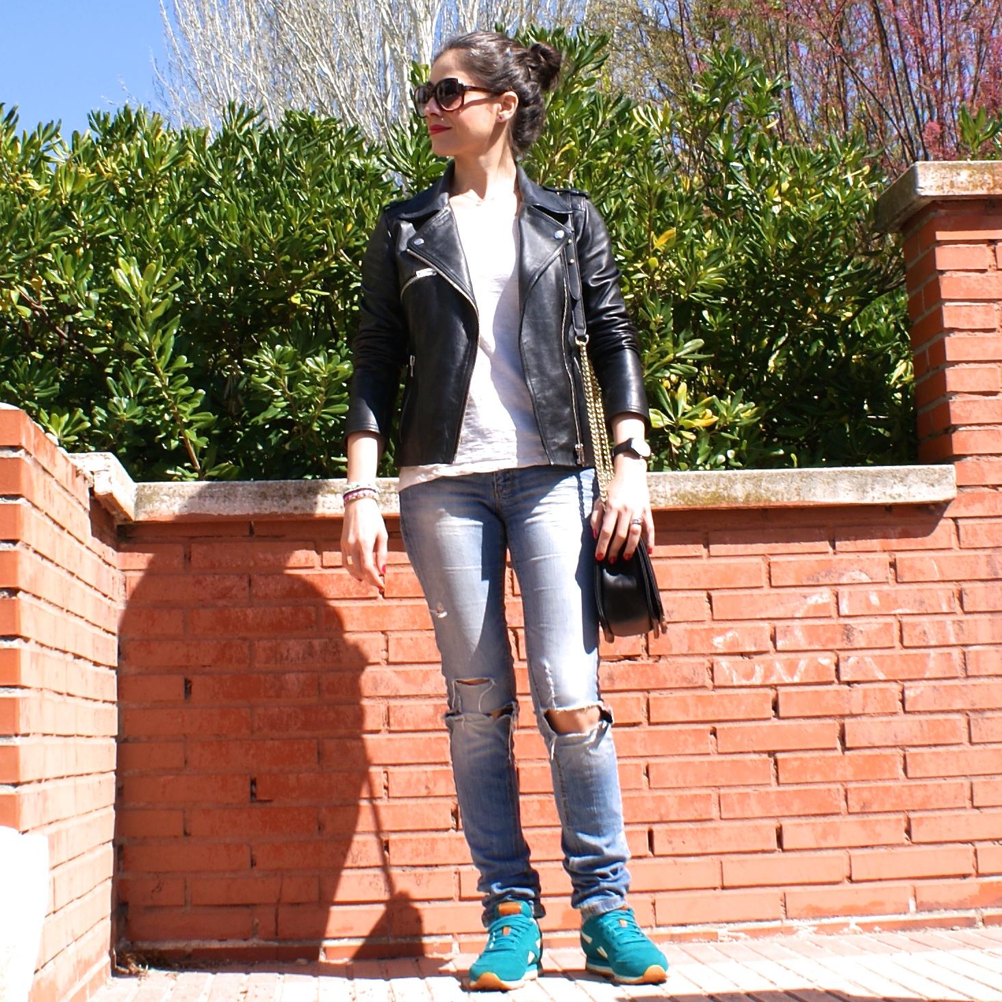 lacaprichossa, sport look, reebok classic, boy bag, perfecto jacket