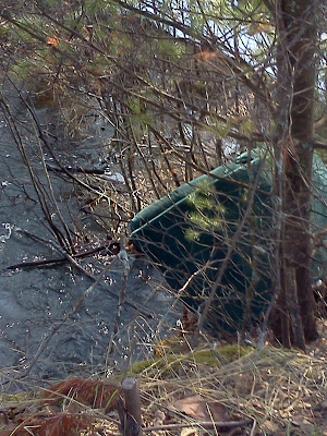 photo of chair dumped along a creek bank