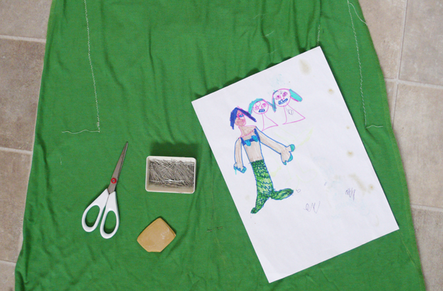 Part of the process of recreating Roses drawings, colour matching green fabric for Mermaid outfit.